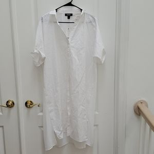 DKNY Button Up Blouse with Sheer Back
